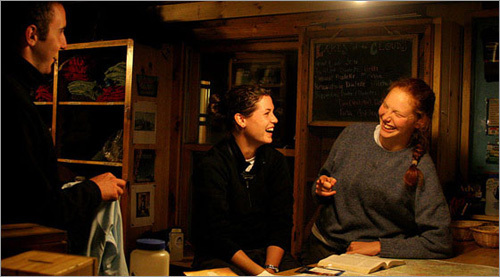 Safely back in the hut, we listened in as the hut keepers gathered around the front desk and swapped stories. The crews live in high-altitude lodge for the summer, rotating time on and off the mountain. Most are in between semesters, or recently out of college, and it seems a good way to spend a summer or to plan the next stage of life.