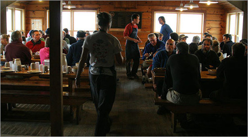 After checking in and dropping off our packs, Jon and I headed to the mess hall. It reminded me of a Boy Scout camp, where meals are served family style on long, communal tables.