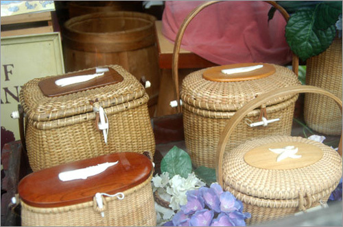 Nantucket Lightship Baskets are available in many of the gift shops around downtown. Look for storefronts like this, and shop around for the perfect design and best price.