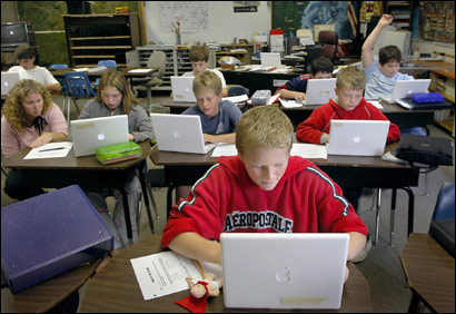Boothbay Region Elementary School 7th grader Zach Brewer of Boothbay, Maine , foreground, used a laptop along with fellow 7th graders in social studies class.