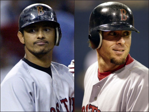 In the multipronged deal that sent Nomar Garciaparra to the Cubs (along with outfield prospect Matt Murton), the Sox received two former Gold Glovers, shortstop Orlando Cabrera from the Montreal Expos (left) and first baseman Doug Mientkiewicz (right) from the Twins. Cabrera hit .294 with six homers and 31 RBIs in 58 games with the Sox, and Mientkiewicz hit .215 in 49 games with Boston.