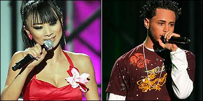 Bai Ling (left) and Carmine Gotti Agnello were two of the contestants at the inaugural filming of VH1's 'But Can They Sing?'