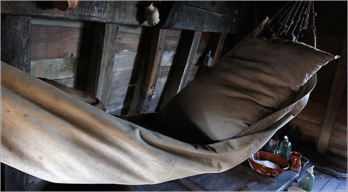 Crew members rotated turns sleeping on a hammock such as this one on the original Mayflower.
