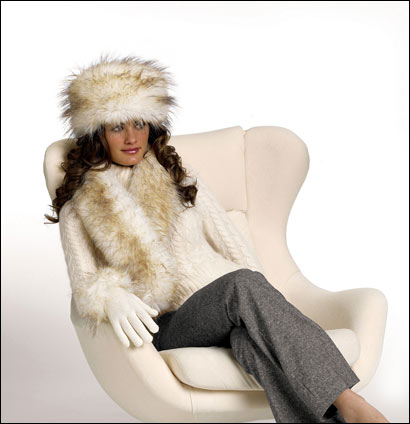 Faux Arctic fox hat ($45), scarf ($49), and gloves ($19) from Fabulous Furs.
