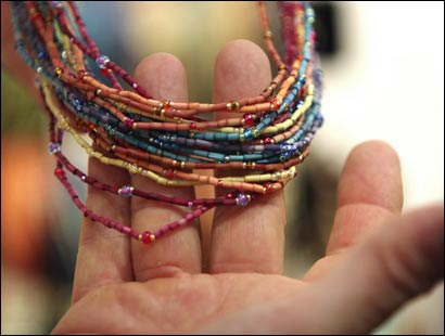 Philip Leakey and his wife Katy are marketing jewelry made by Kenyan women from grasses in Kenya.
