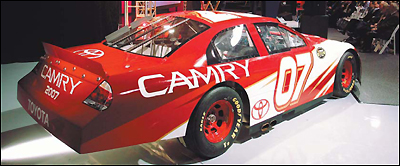 Toyota's entry into Nextel Cup in 2007 was revealed at a news conference in Concord, N.C., last week where this Camry was displayed.