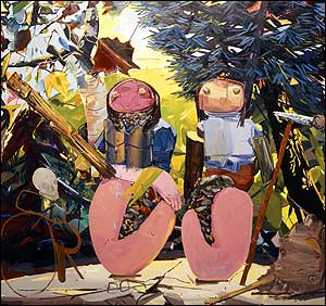 The Breeders, 2002 Oil on canvas 84' x 90' Collection of Ranbir Singh In the portrait 'The Breeders,' a musical duo pops out of pink, fleshy shells. They appear as shamans of creation and self-creation.