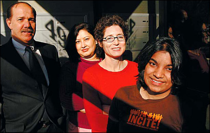 From left: Rick Mann, Roshan Bhandary, Osnat Levy, and Carol Gomez helped free Naseem Mohamed Siraj.