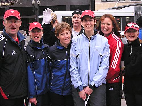 The Durham Road Dawgs running club of Ontario, Canada: Gord Richardson, 52; Katherine Jensen, 34; Glenda Clapham, 45; Jim Stanger, 53; Karen Saltmarsh, 37; Alison Gorham, 46; Darlene Howe, 40; and Rick Hatzelhoffer, 62.