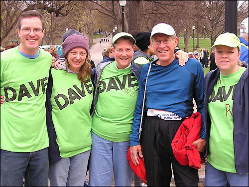 David Cutter of Cedar Rapids, Iowa, turned 63 yesterday, and runs his first Boston Marathon today. With dreams of someday running Boston, he ran his first marathon at age 60. He's being cheered on by John Walker and Catherine Kutter of Thetford, Vt., Betsy Kutter of Cedar Rapids, and Barbara Gannon of Des Moines.