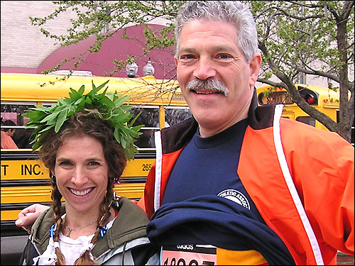 Boston Marathon veterans Liz Charm, 46, and Jeffrey Zeizel, 51, both from Newton, are running to raise money for Dana-Farber.