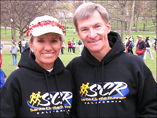 Husband and wife Kelley and Frank Schramz of Santa Clarita Valley, Calif., celebrated Kelley's 56th birthday today with her first Boston Marathon. It's the second for Frank, 57.