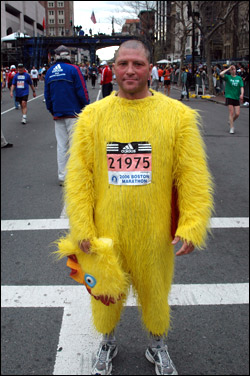 Richard Vaughan of London made a splash wearing this chicken costume and mask for all 26.2 miles.