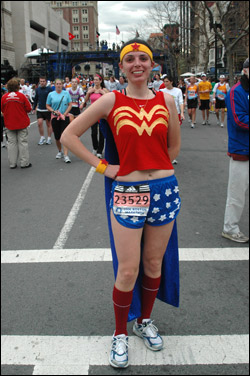 'Wonder Woman' Nancy Ruscio of Weymouth finished in 4 hours and 46 minutes.