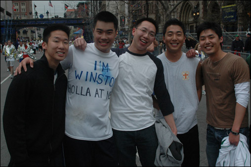 Winson Gu of New Jersey advertised his cell phone number on the back of his shirt.