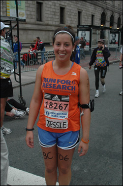 Boston College student Jessica Feldman raised money to support the Run for Research foundation.