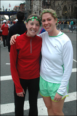 Representing New Hampshie, Michelle Tutras (L) and Kristen Carroll wanted 'a beer and a burger' to celebrate their finish.