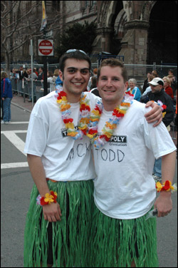 These two 'Hula-gans' from Medford rocked the hula skirt and lei during the race. They are Nick Blasioli (L) and Todd Ryan.