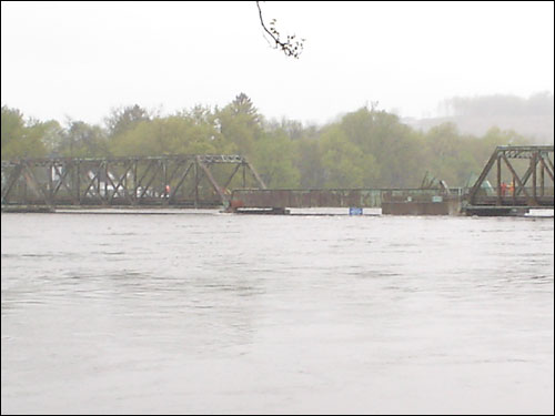 The Merrimack River surged to meet the Groveland Bridge, which connects Haverhill and Groveland, in this photo sent in by Amy Clinard.