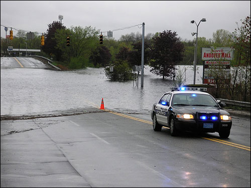 This photo, sent in by Lyena Chavez, shows the flooded intersection by the North Andover Mall.