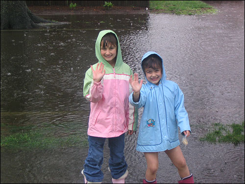 Robert Cataldo of Melrose submitted this photo of two girls named Marissa and Daniela, dressed in their best rainy day clothes.