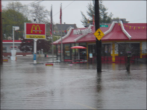 The water had almost submerged the drive-through window of the McDonald's on Canal Street in Salem according to Jennifer Allen, who submitted this photo.