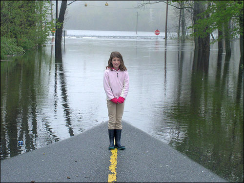 The water crept up South Main Street in Topsfield from the overflowed Ipswich River, as 'Sophie' stood on the street to meet it.