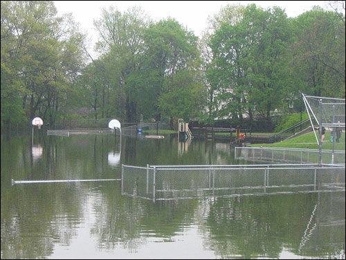 The flood water eliminated any chance of athletics at the Roosevelt School fields in Melrose.