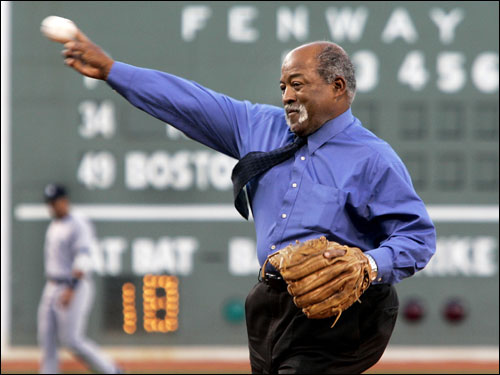 Former Boston Red Sox pitcher Luis Tiant threw the ceremonial first pitch prior to the game.