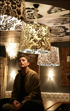 'I'm very much a black and white person,' says interior designer John Stefanon, pictured sitting on the bar of the new club District that he recently designed. He found a swatch of black and white fabric sporting an intense floral pattern and brought it to a local artist, who then super-sized the motif on a series of the circular, black and white ceiling panels. Stefanon happened across the pendant lamps after discovering the fabric. 'I think they do what the birch does, which is give you a sense that you're being enveloped by nature.'