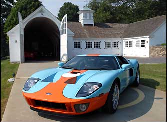 One of his newer cars includes this 2006 orange and blue Ford GT.