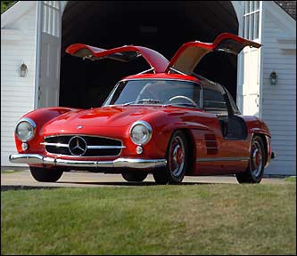 Only 1100 of these 1955 Mercedes Gullwings were made. This red model was raced in Cannonball Run in 1983 and received third place. It also raced in Italy.