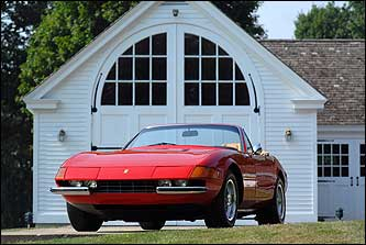 """I drive people at my dealerships crazy because I love cars so much. I'll go in and say, 'Is this one sold?' If not, I'll say, 'I want to take it.'"" His 1973 red Ferrari Daytona Spyder convertible has a whopping 12 cylinders."
