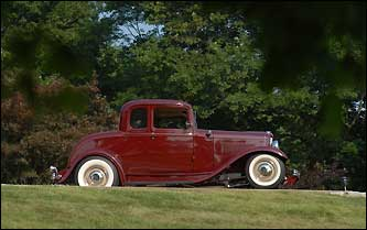 His 1932 Ford Coupe was made in Hollywood California. It has a Corvette suspension, five windows, a steel body, and a 350 horsepower engine.