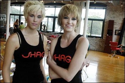 Models Sarah McEllin (left) Ashley Paul after getting Edie-Factory Girl haircuts at