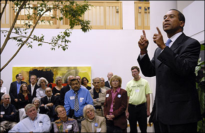 Deval Patrick spoke to supporters in Framingham late last month. Fans have composed songs singing his praises.