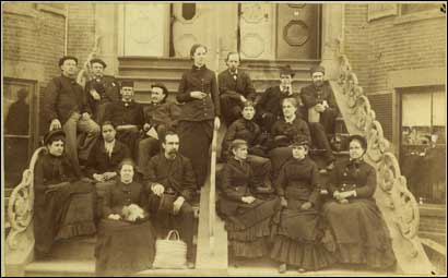 The Boston University School of Medicine, class of 1885. The school was the nation's first to admit women, and this is its earliest known photo of women and med students.