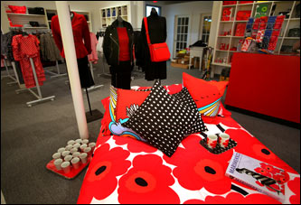 Bed setting in the new Marimekko store, the first retail store of the Finnish design company in the United States, opening soon in Cambridge.
