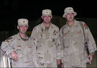 The squad mates paused for a snapshot before their patrol on the night of the roadside bomb attack in Baghdad. From left to right: Jeremy Regnier, Dustin Jolly, and Andy Wilson.