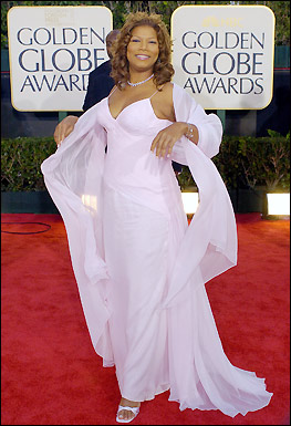 Presenter Queen Latifah arrives for the 64th Annual Golden Globe Awards. Join us for a look at the evening's best gowns. <!-- // define variables var date = new Date(); var current_time = date.getTime(); // write SCRIPT tag to browser document.writeln(' '); // -->