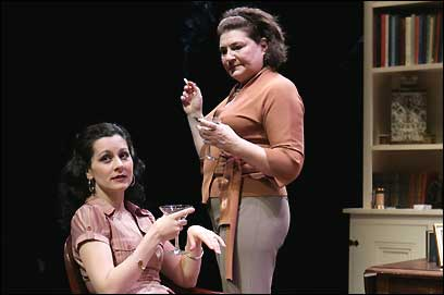 Angela Brazil (seated) plays Julia and Anne Scurria her aunt Claire in Edward Albee's 'A Delicate Balance,' at Trinity Rep.