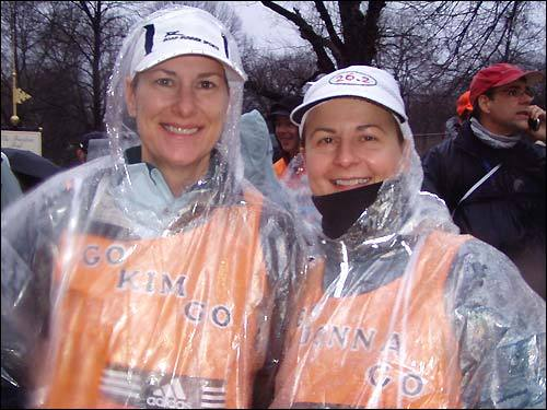 Kim Hendricks, 42, and Donna Schmidt, 43, both of Wichita, Kan., were set to run their first Boston Marathon. They tried nine times to qualify, and trained in all kinds of bad weather, so a little rain wasn't going to keep them from running.