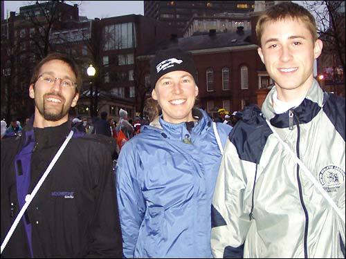 First-timer marothoners Jeff Engel of Indianapolis, Kristi Judd of Milbrook, N.Y., and Steve Curcio of Erie, Penn., are relieved that it's not raining too hard.
