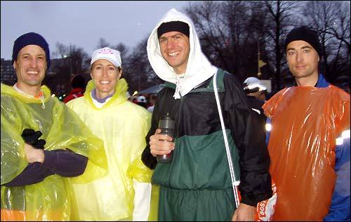 Steve Woodard of Buffalo, Mary Pat Ray of Atlanta, Alan Zarembo of Los Angeles, and Holger Kleinke of Waterloo, Canada. Mary Pat's said she's ready for an adventure, but Steve thinks that 'if it doesn't get any windier, that would be great.' Unless the wind is at his back to help him run, of course.