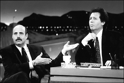 Jeffrey Tambor and Gary Shandling on the 'Larry Sanders' show