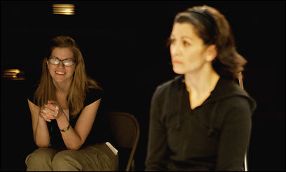 'The Clean House' director Laura Kepley (left) watches Angela Brazil rehearse.