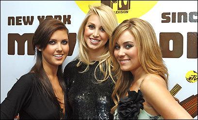 The stars of MTV's 'The Hills,' Audrina Patridger (left), Whitney Port, and Lauren Campbell