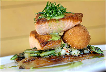Pan-roasted salmon with a sorrel cream sauce