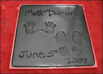 Matt Damon's handprints