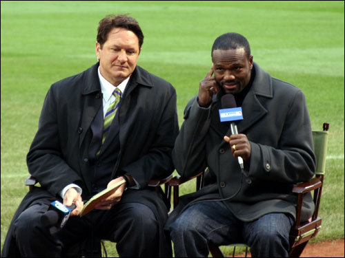 Former ESPN Baseball Tonight analyst Harold Reynolds (right), now with MLB.com. gets ready to interview Fox television sports reporter Chris Myers.